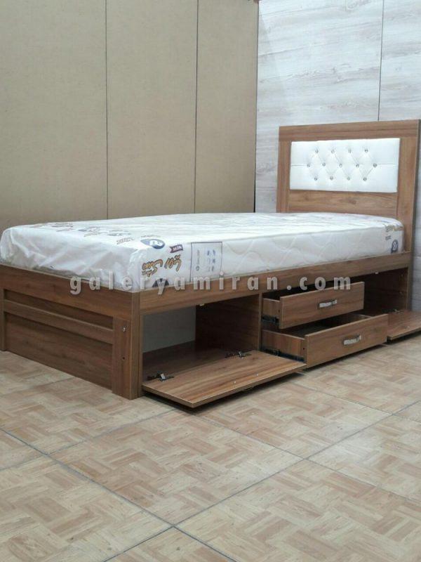 تخت دو نفره رنگ بندی چوب و لمسه