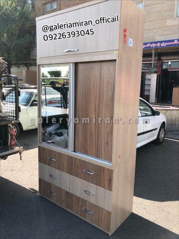 کمد چوبی سفارش مشتری عرض۱۲۰ ارتفاع ۲۴۰ دارای رنگ بندی و ۲سال ضمانت